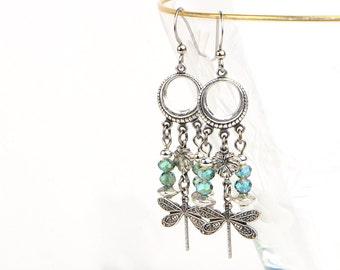 Bohemian Festival Earrings, Long Dangle Earrings, Girlfriend Gift Earrings, Dragonfly Earrings, Romantic Gift Earrings, Travel Gift