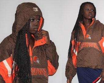NFL Pro Line Starter Kangaroo Pouch 90s Cleveland Browns Nfl Football Hip Hop Rap Rapper Bomber Jacket - Starter Jackets- 48