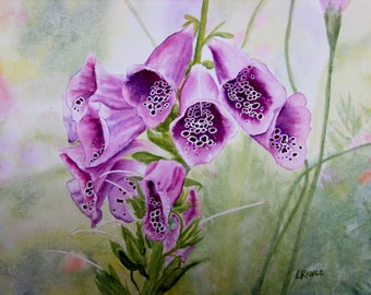 Foxglove watercolor original flower painting 9x12 small painting