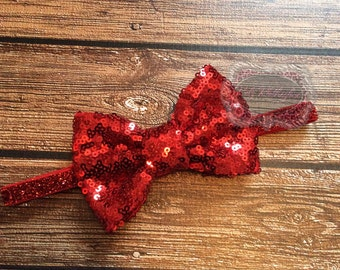Sequin Headband Glitter Headband Red Sequin Headband Baby Headband 1st Birthday Headband Bow Headband