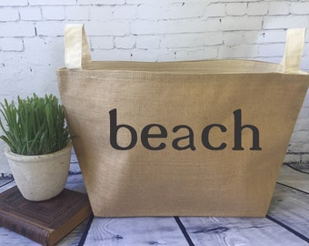 beach tote,large lined burlap storage basket , burlap storage tote