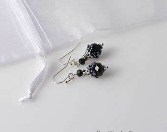 Small beadwoven bell flower Victorian earrings Black