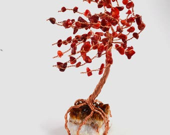 Raw Citrine Cluster Copper Wire Tree of Life Bamboo Coral Leaves Windswept Handmade Home Decor Reiki Healing Crystals Wire Art Sculpture