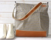 GRAY Waxed canvas Diaper bag / Messenger bag Stockholm  nautical striped  Leather / Ikabags Featured on The Martha Stewart F1