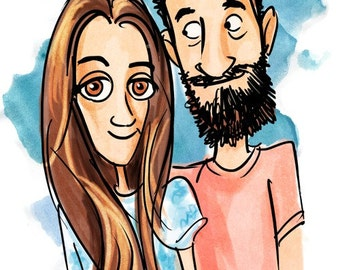 Custom Couples Cartoon Portrait