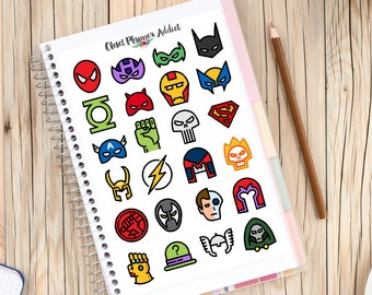 Superheroes and Villains Planner Stickers | Comics Characters | Comics Stickers | Superheroes Stickers (S-052)