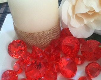 35pcs Red Sparkling Diamond Gems For Vase Fillers, Wedding Centerpiece, Table Confetti, Scatters