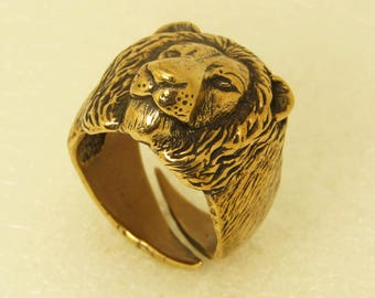Men's Bronze Lion Head Ring Animal Ring Men