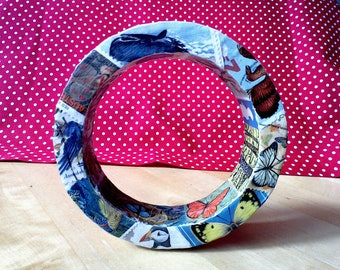 Decoupaged wooden bangle using vintage stamps