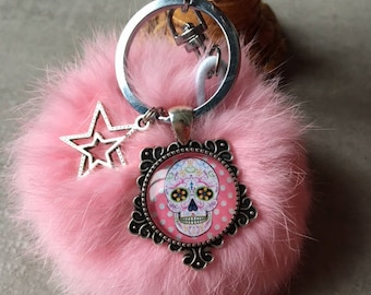 Skull - bag charm with tassel fur cabochon glass 20mm