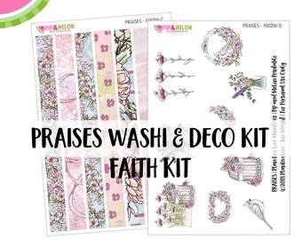 PRAISES Washi/Deco- Faith Bible Journaling Mini Kit | Psalm 100 | 60+ piece Pre-Cut | Faith Journaling | F002W
