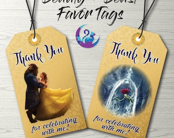 Beauty and the Beast Favor Tags, Beauty and the Beast Tags, Beauty and the Beast Party Decoration, Beauty and the Beast Favors, Beauty Beast