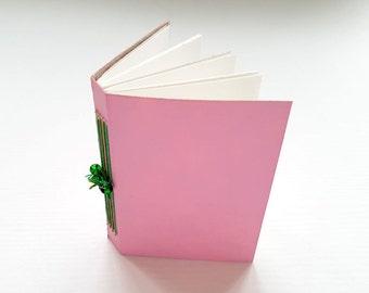 SALE! 20% off! Mini journal, journal, hand bound book, binding, book, mono-print, pink, green beads