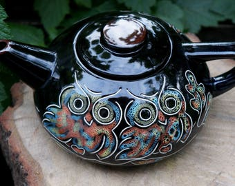 Ceramic teapot Owl Gift for bird lovers Mothers gift Romantic gifts Unique teapot Anniversary present|for|sister Original gift|for|grandpa