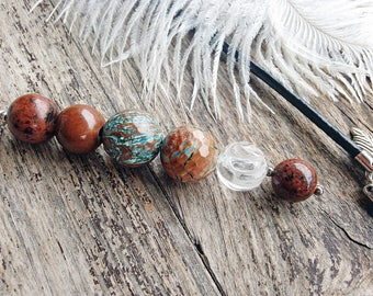 Gemstone pendant leather necklace agate jasper quartz pendant brown blue necklace universal jewelry leather cord gift for her gift for women