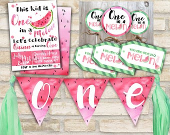 One in a melon party invitation suite for first birthday party decor with cupcake toppers, banner, and party favor tags watermelon theme