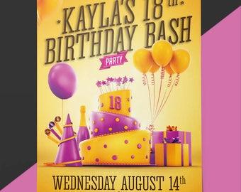 Printable Birthday Party Invitation for teens, girls, women