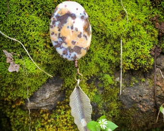 Jasper Feather Pendant Necklace // Leather Stone Jewelry // Sterling Silver Necklace // Boho Gypsy Tribal Necklace // Jasper Stone Pendant