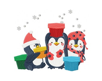 Machine Embroidery Design - Christmas Penguins #06