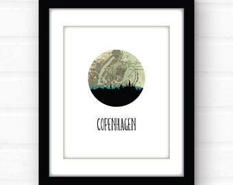 Copenhagen map print | Copenhagen poster | Copenhagen print | Copenhagen Denmark map art | travel print | Europe city skyline prints
