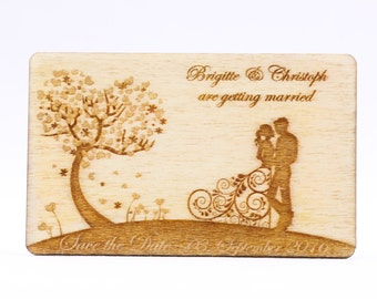 Save the Date Tree of Love, Wedding Dress Magnet, Custom Laser Cut Save the Date Reminder, Engraved Wood Magnet, Personalized Favor Tags