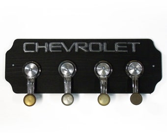Chevrolet Wood Coat Rack - Chevy Wall Hat Rack with 4 Chrome Car Handle Hooks - Hangers