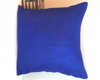 "18"" x 18"" Royal Blue Burlap Envelope Style Pillow Cover"
