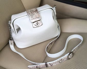 Leather Cross body Bag, White Leather Shoulder Bag, Women's Leather Crossbody Bag, Leather bag KF-1380