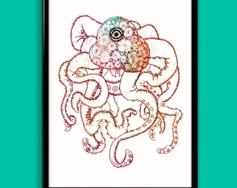 Multicolored One-eyed Design Squid/Octopus Wall Art Archival Giclee Print