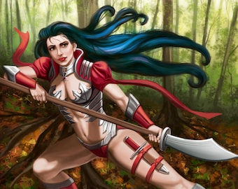 13x17 Signed Blue Haired Female Warrior Print by Sandra Chang-Adair