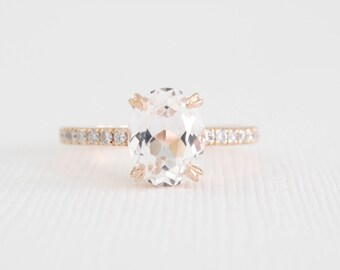 Oval White Sapphire Diamond Engagement Ring in 14K Rose Gold