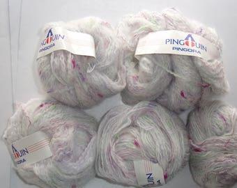6 balls of yarn - PINGORA Penguin mottled White Pink Purple