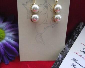 E-0581 - Vintage Two-Stone Georgian Pearl Earrings - 18th century earrings, Marie Antoinette Earrings, French Earrings