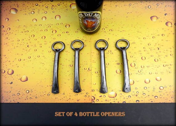 4 GROOMSMEN GIFT SET Bottle Openers - Personalized Option Available - Hand Forged by Naz - Gifts for Groomsmen Ushers  Engagement  Gift  Men