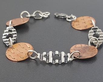 Mixed Metal Bracelet, copper, sterling silver, mixed metals, mixed metal, michele grady, bracelet, link bracelet, copper and silver, boho