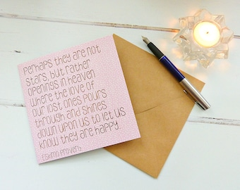 Sympathy Card - Perhaps they are not stars, Eskimo Proverb - Handmade Quotation Card, Bereavement Support