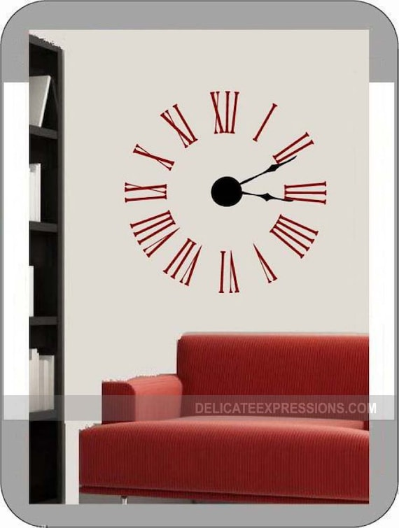 Large Wall Clock Decal Kit With Working Hands And Mechanism