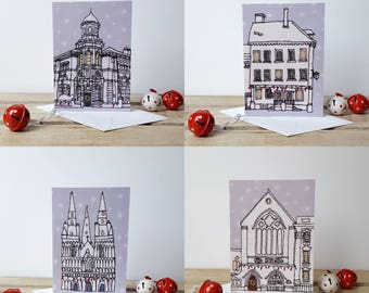 Set of 4 printed Lichfield Christmas Cards