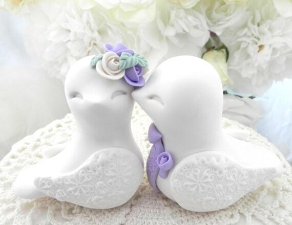 Love Birds Wedding Cake Topper, White and Lilac, Bride and Groom Keepsake, Fully Custom