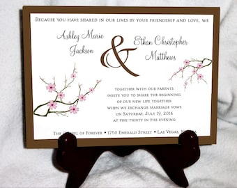 100 Cherry Blossom Pink Wedding Invitations, RSVP's, Reception Insert w/ FREE Calendar Stickers