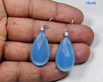 ON SALE 33.03 CT Aqua Chalcedony Gemstone & Solid 925 Sterling Silver Jewelry Earrings