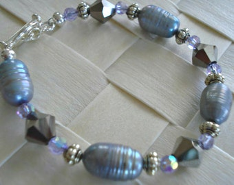 Freshwater Pearl Bracelet, Gray Pearl Bracelet, Purple Crystal Bracelet, Grey Jewelry, size Small to Medium,