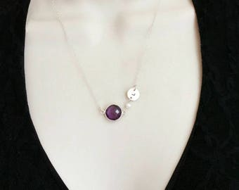 Birthstone Necklace, Initial Necklace, Minimalist Necklace, Amethyst Necklace, February Birthstone, Custom Hand Stamped, Silver, Gold,purple