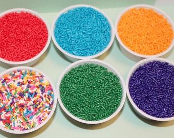 8 oz. Edible Sprinkles, sprinkles, Cupcake Sprinkles,Cake Sprinkles, Red,Blue,Purple,Orange,Green,Rainbow,