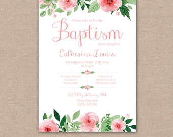Baptism Invitation, Christening Invitations, Girls Baby Babies, Shabby Chic, Pink Flowers Floral Watercolour – Digital file