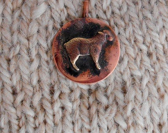Shawl Pin Copper with Sheep Lamb Woolly Fur Face Bronze - NEW!