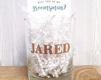 Set of 5, 6, 7, 8, 9 Personalized 14oz Whiskey Rocks Glass + Card perfect for Groomsmen or Best Man Gift / Thank You