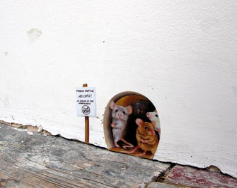 Miniature 'No Cats!' mouse hole  wall sticker / decal