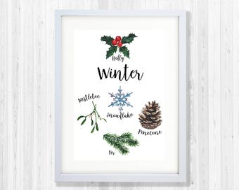 Winter collection Woodland Nursery Print with font for Nursery Decor (watercolour)