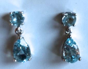 sterling silver aquamarine drop earrings teardrop faceted